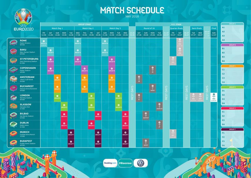Euro 2020 : calendrier complet des matchs